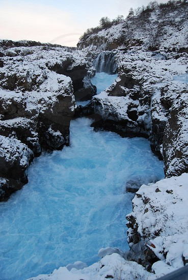 The Children's Falls rapids caught in winter. Husafell in West Iceland. photo
