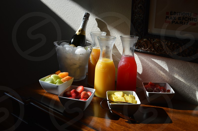 Fruit Brunch Adventure #mimosas #strawberries #pineapple #grapes #melons #champagne #girls #carafe photo