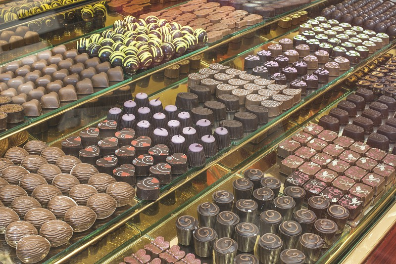 Chocolate candy in a store window. Stand with chocolates. Bulgaria photo