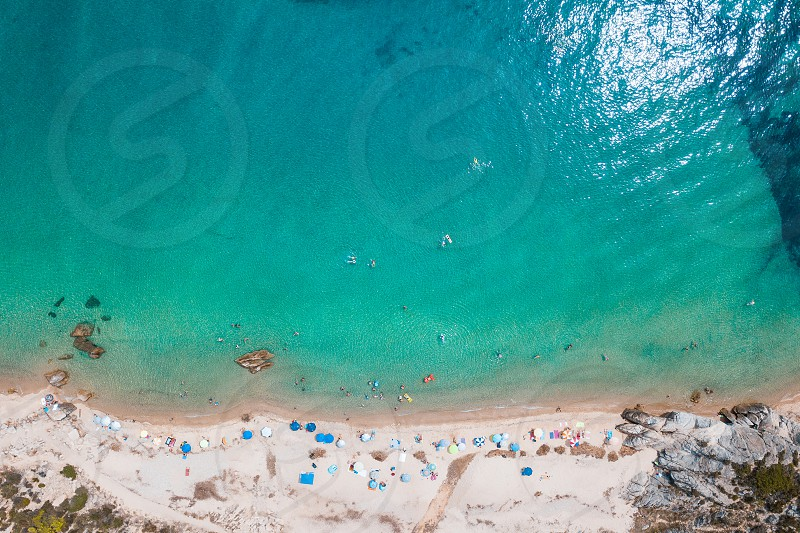 Aerial view of the tropical beach in holiday season photo