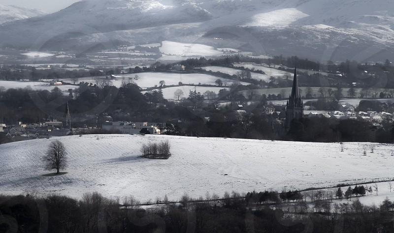 Village. Church. Winter landscape. photo