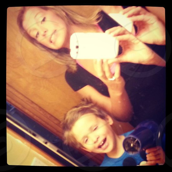 Mom kid blow dryer selfie funny silly child photo