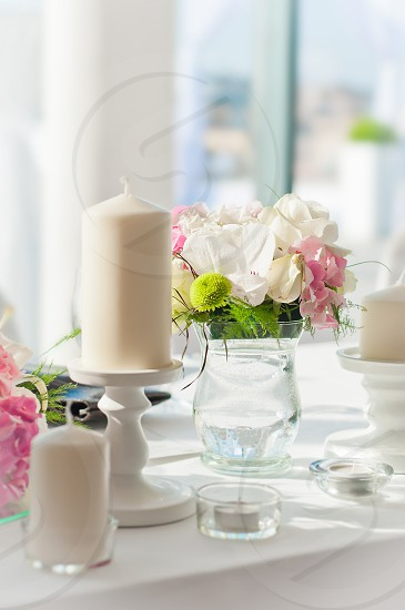 flowers roses white candle wedding decoration table  photo