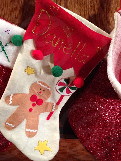 red and white danella christmas sock photo