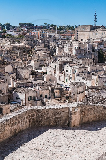 Matera Italy - August 2019: Historic center of Matera on a sunny August day photo