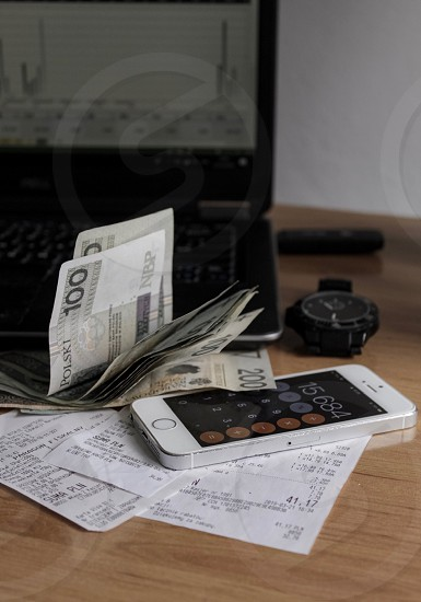 Finance money calculation calculator recipes cash laptop banking photo