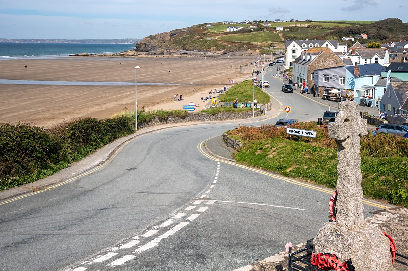 BROAD HAVEN PEMBROKESHIRE/UK - SEPTEMBER 14 : View of the War Memorial at Broad Haven Pembrokeshire on September14 2019. Unidentified people photo