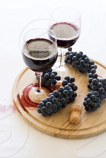red Isabella wine decorated grapes photo