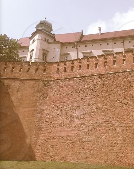 Polish castle walls in Krakow Poland photo