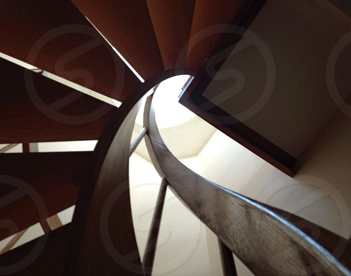 spiral wooden staircase photo