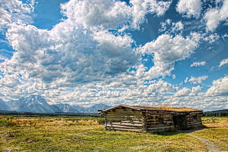 Dramatic cloud cover in a rural landcape scene photo