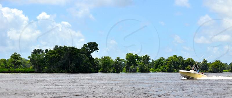 Boating along the Waccamaw River in South Carolina photo