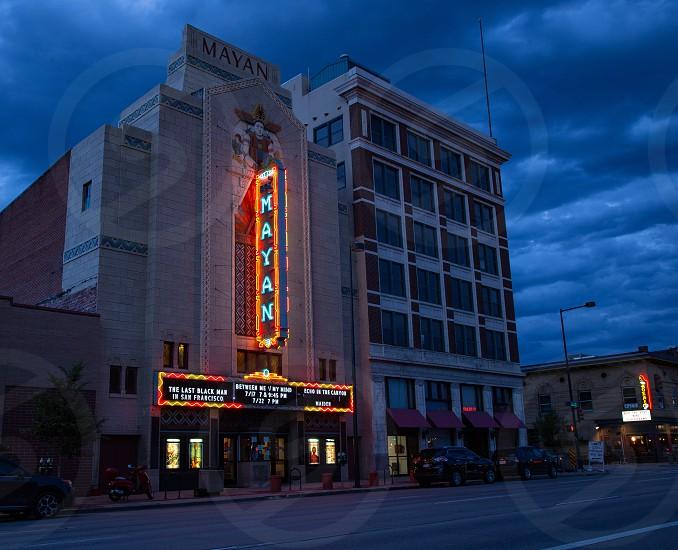 Beautiful facade of the Mayan Theatre cinema Denver Colorado   photo