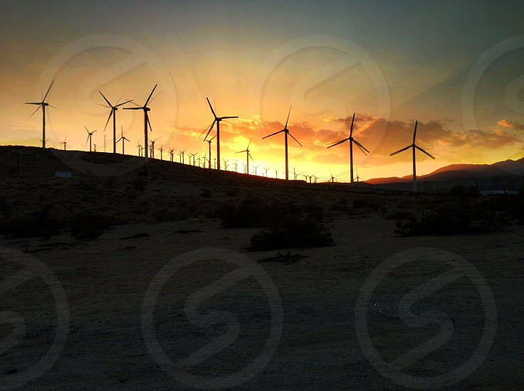 wind electricity makers sunset photo