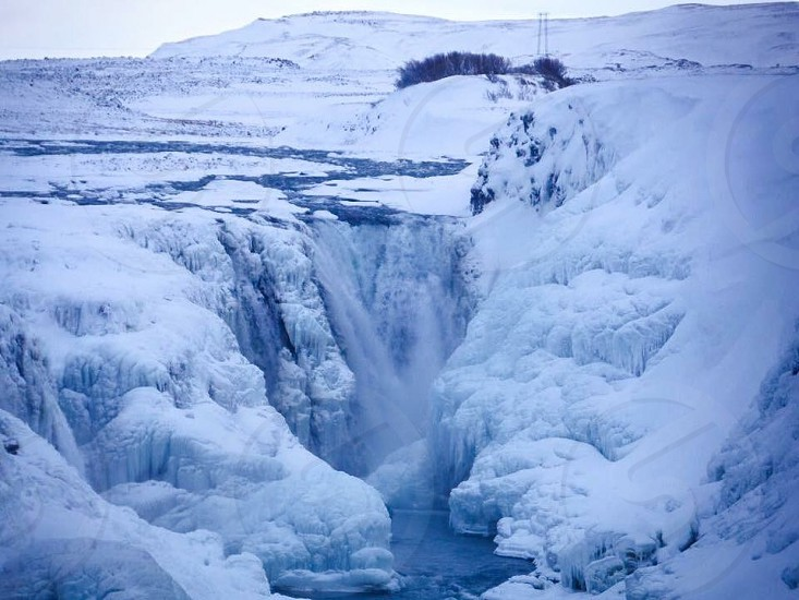 Outdoor day horizontal colour waterfall Gulfoss Iceland golden circle icy ice snow snowy water Europe European travel photo