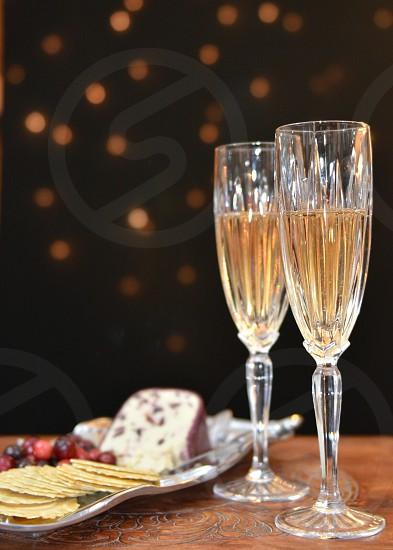 Champagne cheese fruit New Years  photo