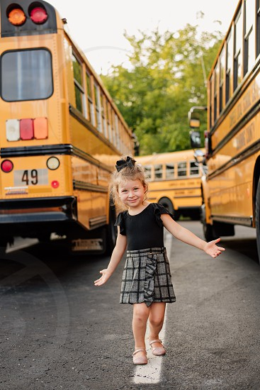 School bus school bus girl toddler outfit fashion photo
