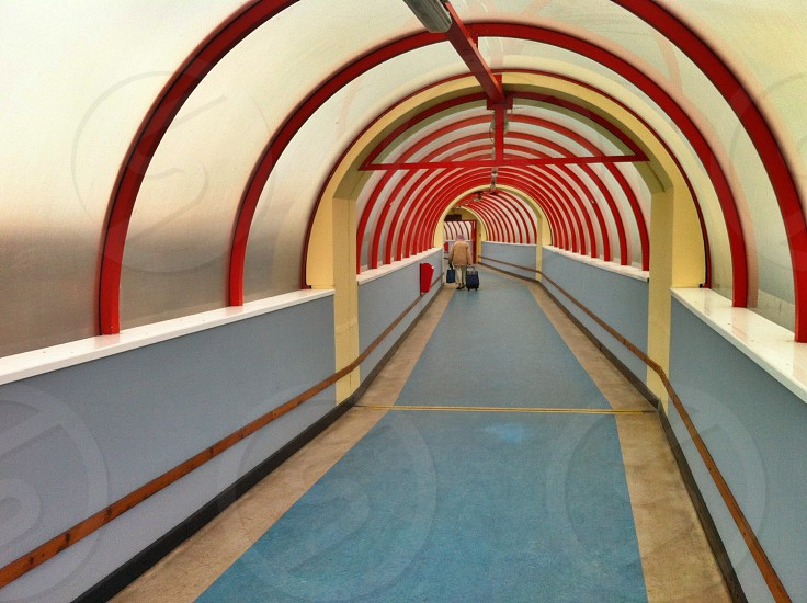 red and glass tunnel  photo