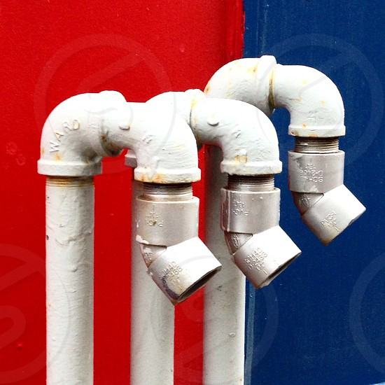 Street vent pipes in Montreal.   photo