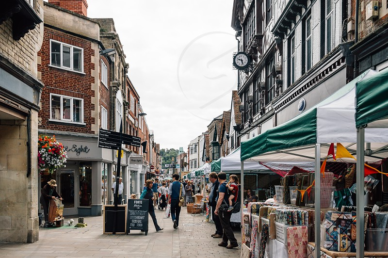 Antiques market in main street of Winchester England photo