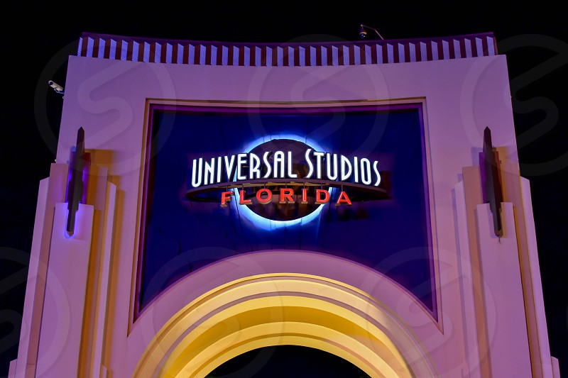 Orlando Florida. February 05 2019.  Top view of Universal Studios arch at night in  Universal Studios area (1) photo