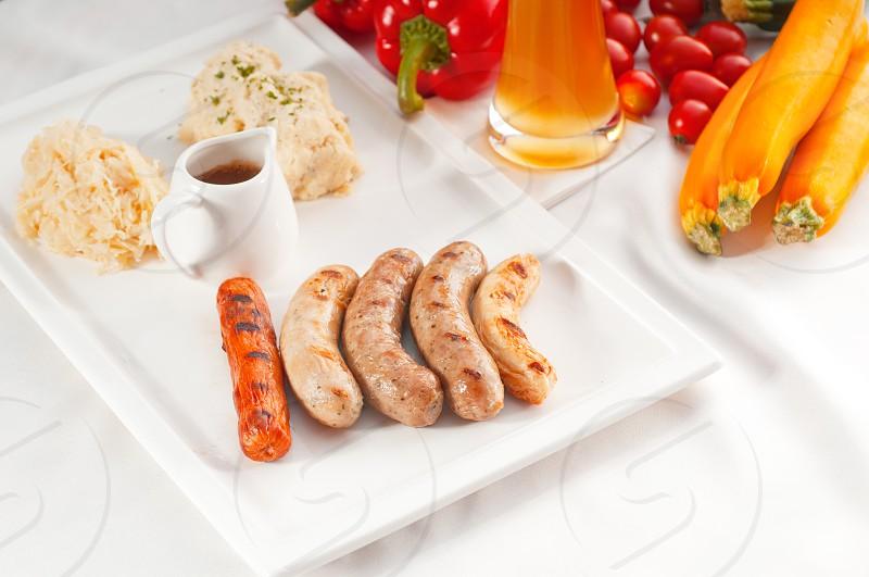 selection of all main type of german wurstel saussages frankfurterwienerbratwurstFränkischeCoburgerKulmbacherNürnbergerWürzburgerThüringe MORE DELICIOUS FOOD ON PORTFOLIO photo