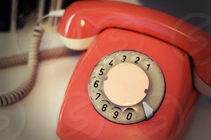 funky orange vintage phone rotary 70s cool telephone old photo