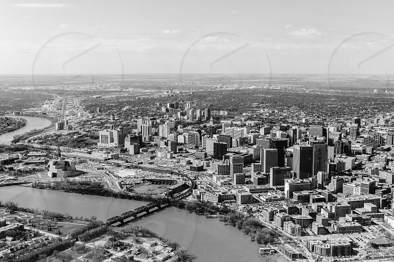 Birdseye view of the Winnipeg Manitoba skyline photo