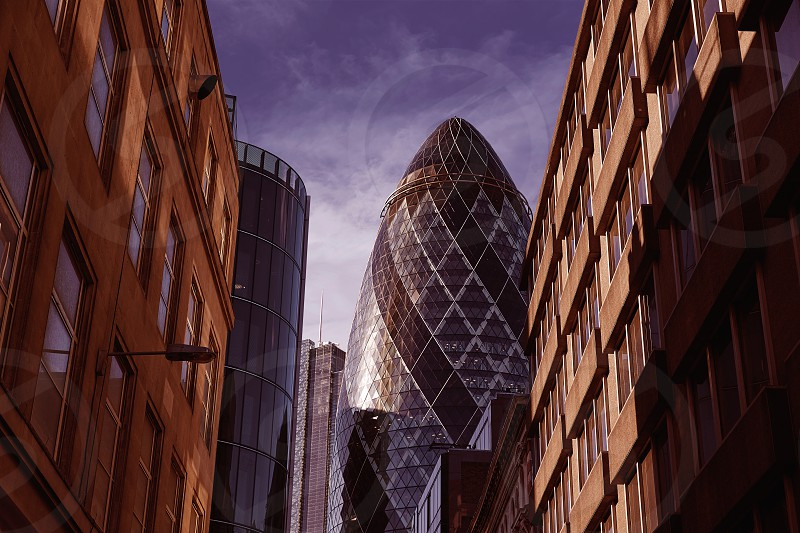 London financial district street Square Mile with Gherkin building photo