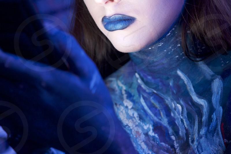 body paint blue lips galaxy paint     photo