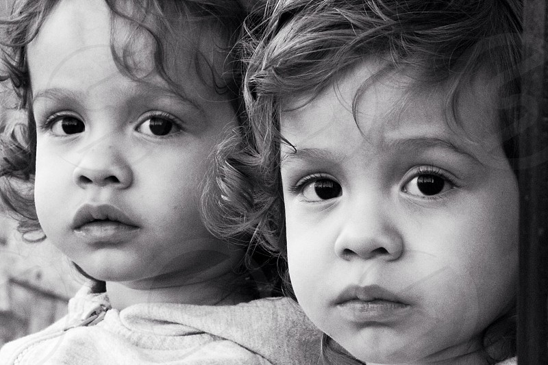 Baby Toddler Twins Kids Black and White Portrait Photography  photo