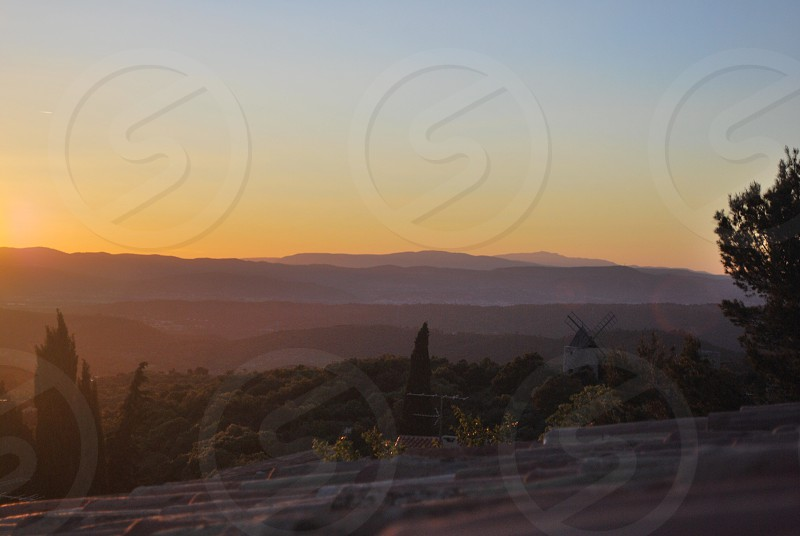 sunset on mountain view photo