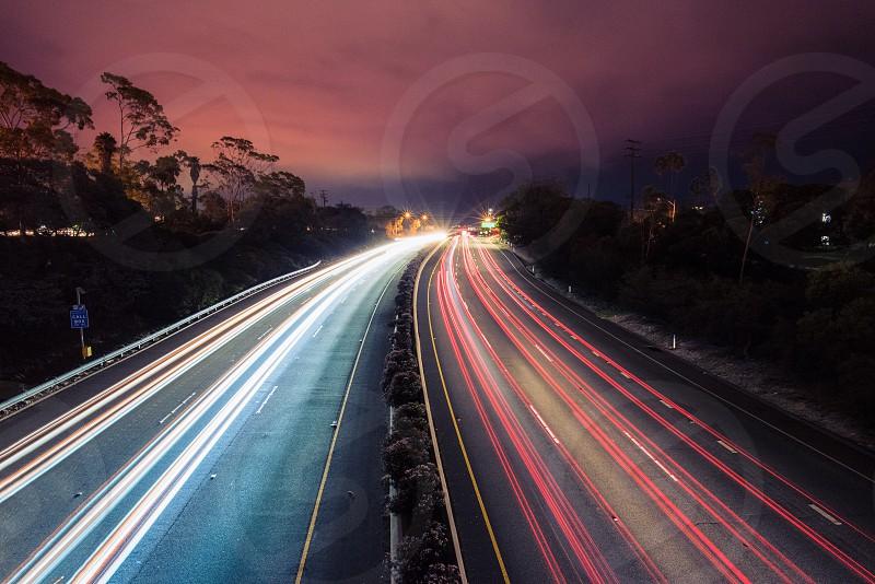 autonomous cars highway traffic long exposure freeway driving transportation night photo