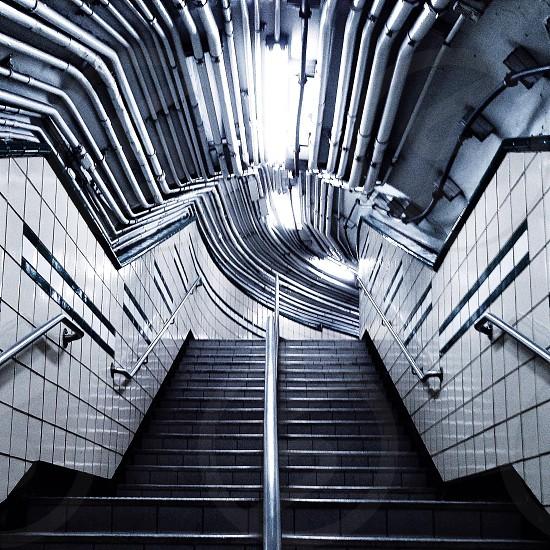 silver stair hand railings photo