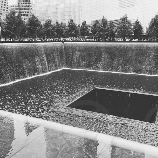 grayscale photo of 911 memorial photo