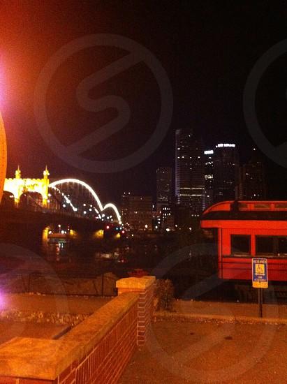Bridge across Downtown Pittsburg photo