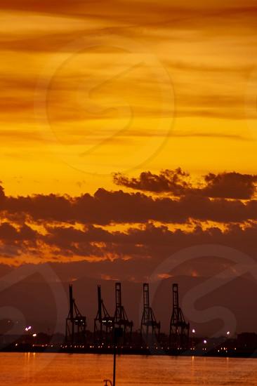 Harbor at mediterranean coast in sunset Spain Malaga photo