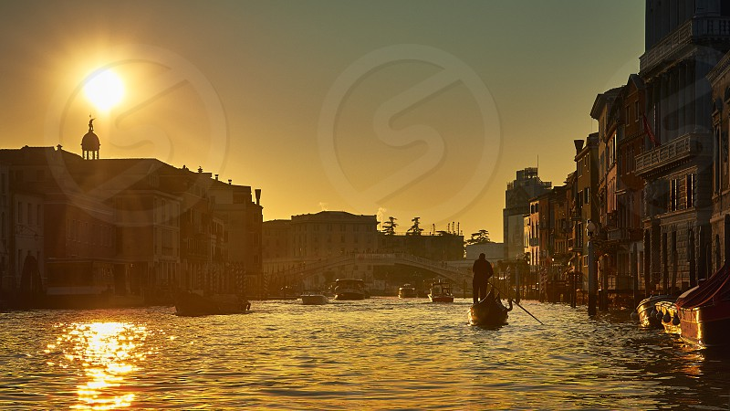 Sunny afternoon on the gran canal of venice photo