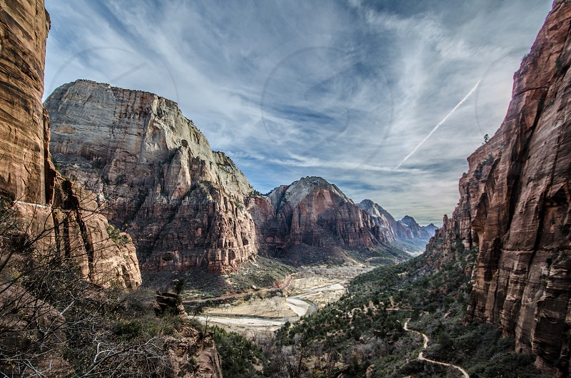 zion utah national parks landscape mountains valley park outdoors hiking views  photo