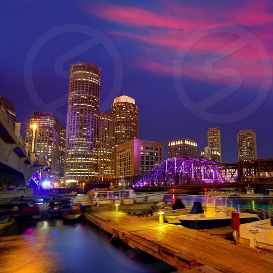 Boston sunset skyline from Fan Pier in Massachusetts USA photo