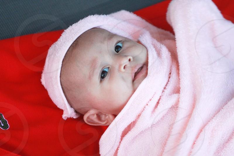 Close up portrait of a newborn baby photo