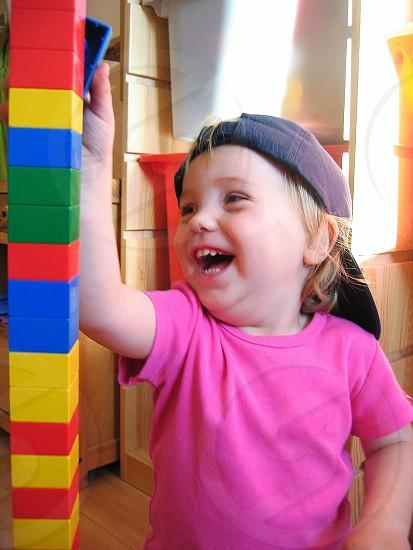child's pink short sleeve round neck shirt photo