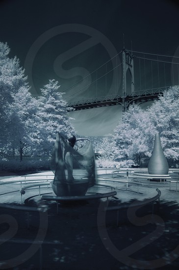 Infrared image of model praising the open sky photo