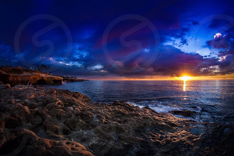 Home beach paradise sunset color burst  photo