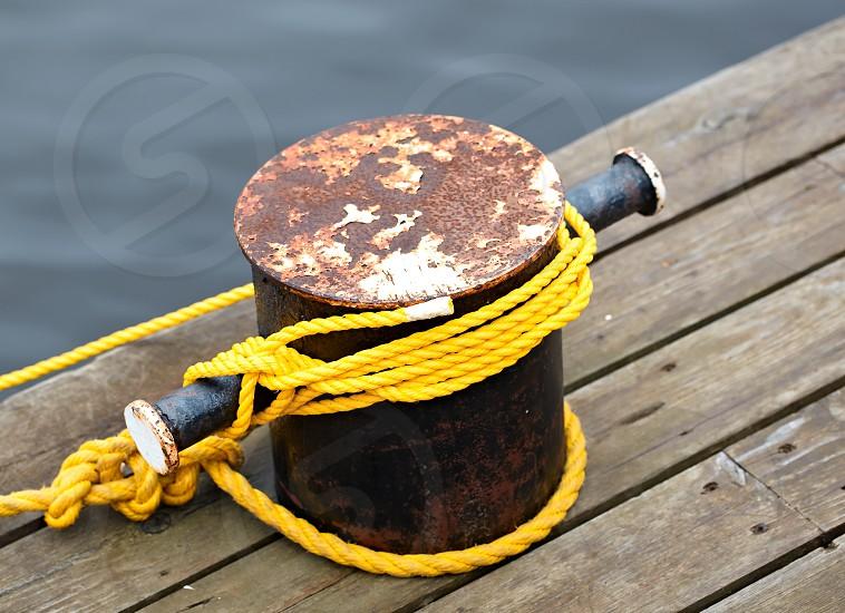 Mooring rope in the port. Macro shot. photo