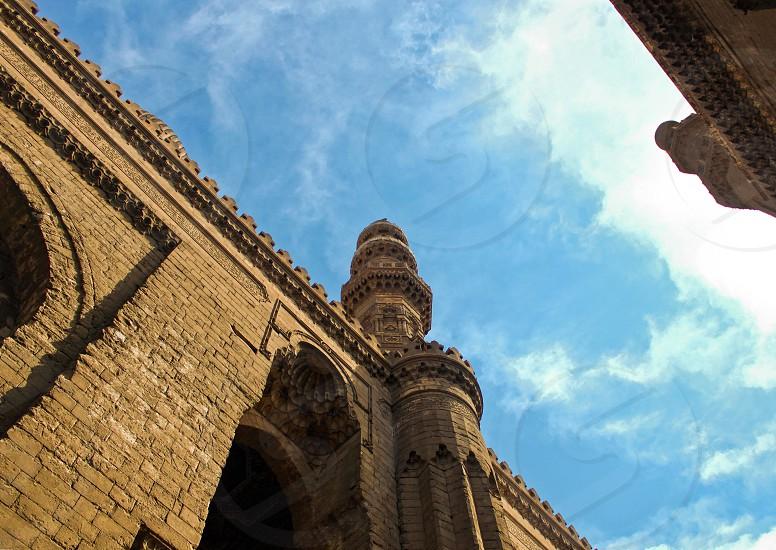Looking up to AlRefaei mosque minaret top Cairo Egypt photo