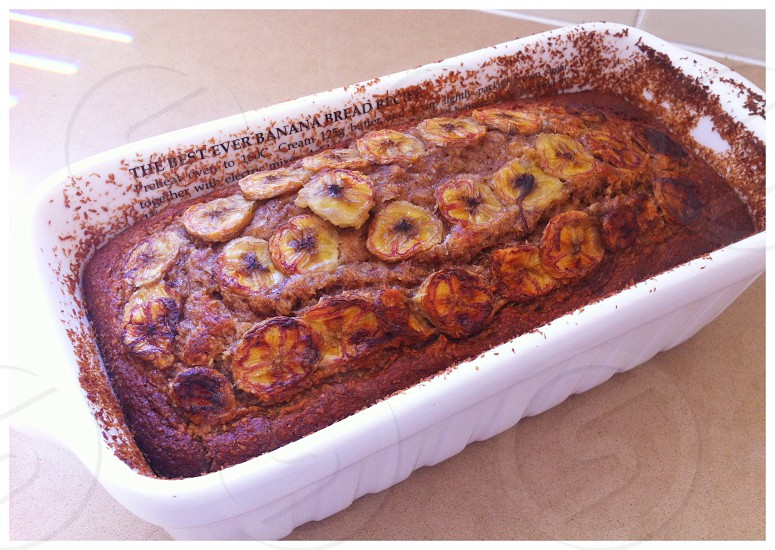 Banana bread cake snack loaf treat bake cook baking photo