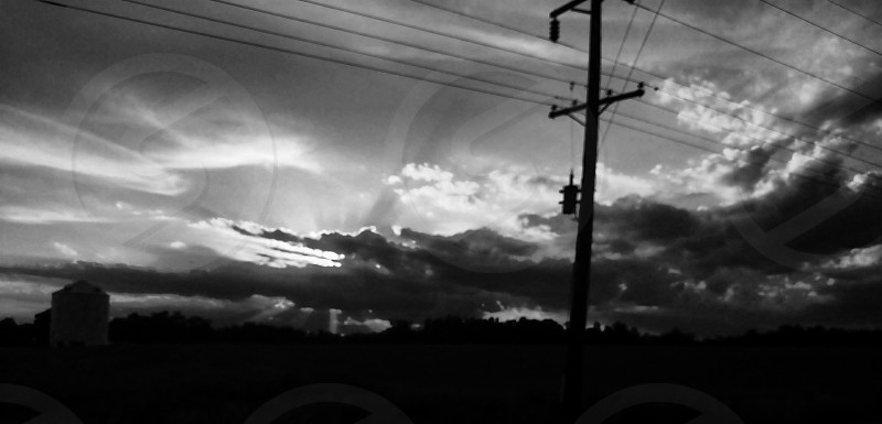 A sunset coming home. Took in black n white. photo