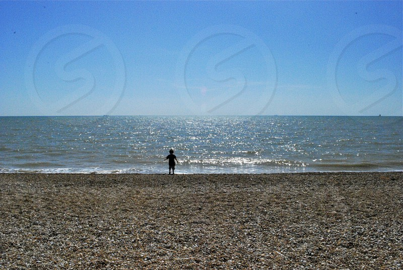 Summer Coastal Scene Boy on the Beach England photo