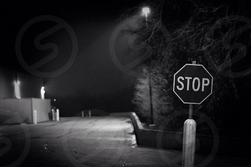 stop sign at a road at night photo